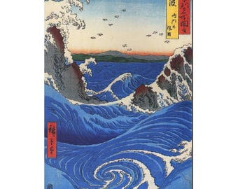 Ando Hiroshige Naruto Whirlpools Awa Province Vintage Canvas Poster Giclee Art Print Gallery Wrapped