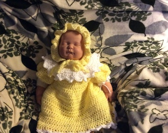 Crocheted Baby Dress and Hat