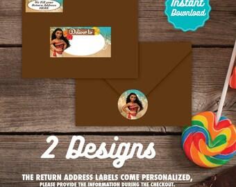 Dirección de Moana para imprimir etiquetas, sellos de envolvente de Moana,  DIY, Moana cumpleaños, fiesta de Moana, Moana cumpleaños decoración,