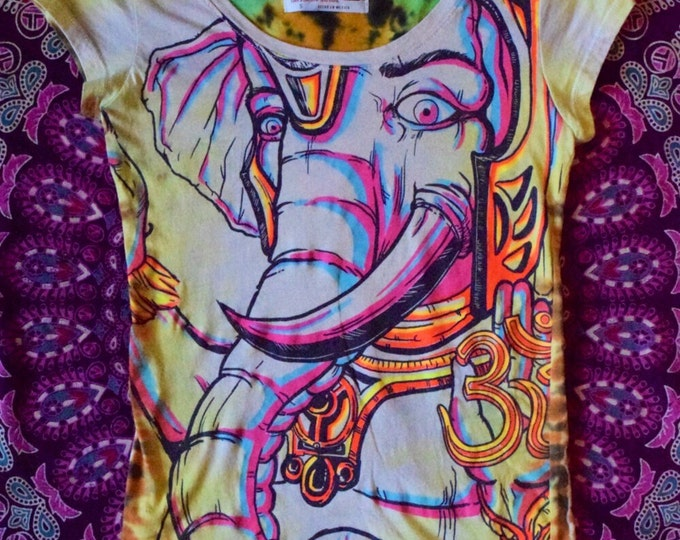 Psychedelic Ohm Elephant Cosmic Cove Tie-Dye Collaboration Woman's Tee