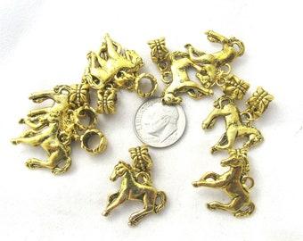 10 Pc Gold Tone Horse Euro Style Dangle Charm Set  (B157a27)