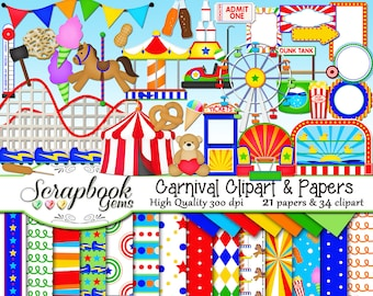 CARNIVAL Clipart & Papers Kit, 34 png Clip arts, 21 jpeg Papers Instant Download party amusement theme fair park roller coaster circus rides