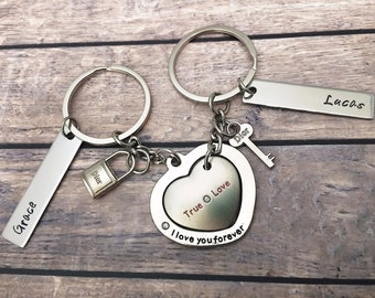 Anniversary Gifts for him - Keychain couple set - I love your forever - Birthday gifts keychain for men and women - Love gifts him and her
