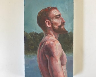 Thinking back - a small original oil painting 3x5""