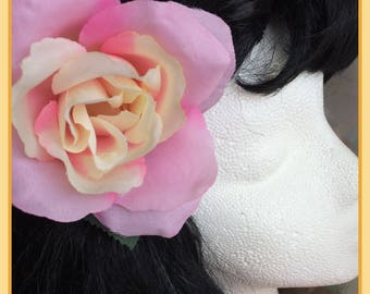 Single Pink and Yellow Rose Hairclip Pinup Hair Flower
