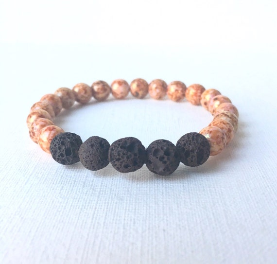 Essential Oil Diffuser Bracelet - Brown Lava Rock with bronze glass beads stretch bracelet