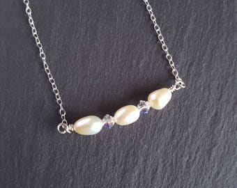 Real Ivory Freshwater Pearl and Swarovski Crystal Bar Necklace with Sterling Silver Chain - Gift for Her - Bridal - Wedding Jewellery