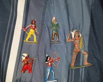 5 unmarked lead toy Indians