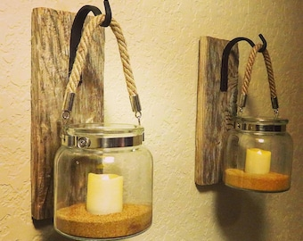 Lantern (2), Rustic Home Decor, Coastal Decor, Entryway Decor, Candle Holder, Nautical Decor, Bathroom Wall Decor, Outdoor Wall Decor