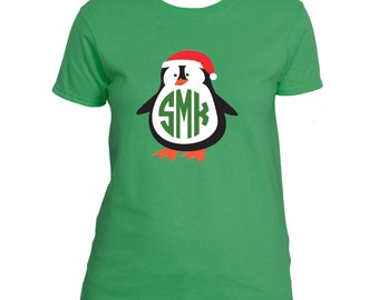 Ladies Monogrammed Penguin Christmas Holiday Shirt Christmas Penguin Shirt Monogrammed Penguin T-shirt Personalized Christmas Shirt