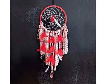 Boho Dreamcatcher, Red Dreamcatcher, Large Dream Catcher, Nursery Decor, Boho Wall Hanging, Boho Home Decor, Crochet Dreamcatcher, Doily