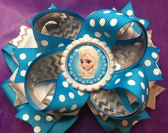 Frozen Elsa blue white silver polla dot stacked bottle cap hair bow