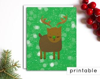 printable holiday card, digital christmas card, cat card, christmas card printable, cute christmas card, chrismas card, reindeer christmas