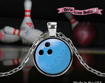 Cute Bowling Ball pendant on delicate chain, vector bowling ball style, elegant necklace