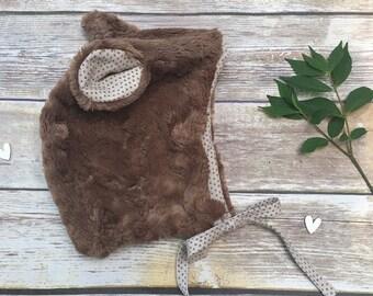 Bear Hat    Bear Bonnet    Bear Outfit    Baby Bonnet    Modern Bonnet    Newborn Bear Hat    Baby Hat    Newborn Bonnet    Animal Bonnet