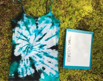 Black and Teal Womens Tie Dye Tank Top