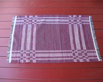 Handwoven cotton rug log cabin weave