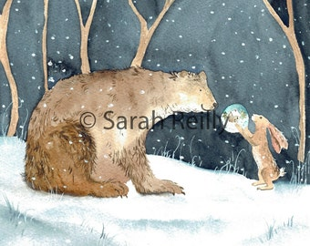 The Bear and the Hare - A Contemporary Print of Original Painting, A touching moment between the Bear and the Hare at Christmas