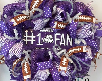 Ready To Ship  Texas Christian University Collegiate Wreath Sports Wreath Football Wreath Horned Frogs Wreath TCU Wreath Door Wreath