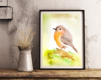 R0BIN - Robin Abstract Watercolor Painting Large Photo Poster Print (Sizes  18  12 / 24 16 / 36 24 inch) - Bird Robin Nature Animals Animal