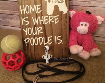 Poodle leash holder