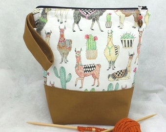 Knitting Project Bag, LLama Knitting Project Bag, Knitting Tote Bag, Crochet Project Bag, Knitting WIP Bag, Wedge Bag, Zippered Knitting Bag