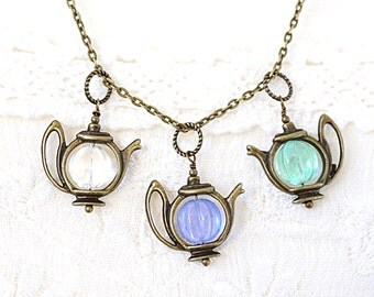 Artisan Glass Teapot Necklace Bronze Chain Necklace U-pick Color Clear Light Purple or Mint Green Teapot Pendant Alice in Wonderland Gift