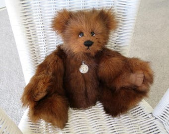 Handmade Teddy Bear Named Milo for Adult Collectors, Fully Hand Stitched with Faux Fur and German Glass Eyes, Artist Teddy Bear Gift