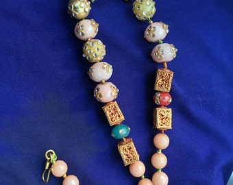 Multicolor hand decorated beads necklace