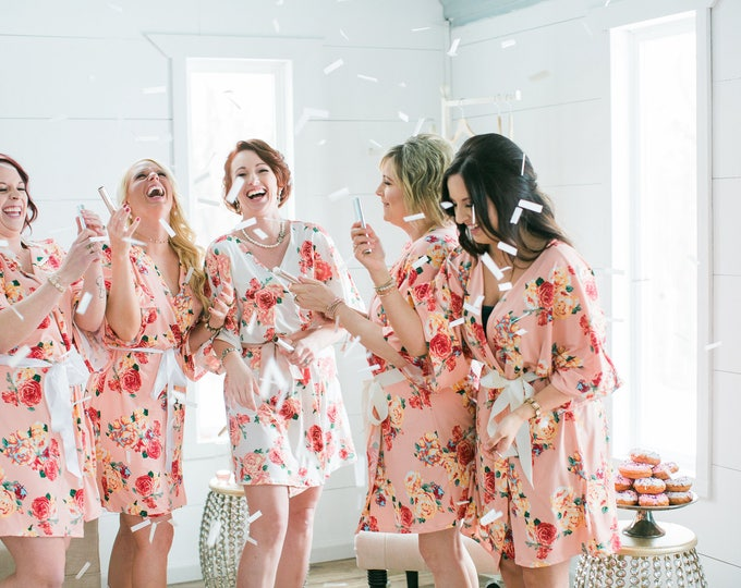 Featured listing image: Bridesmaids Robes / Custom Floral Robes / Bridal Robes / Bridal Shower