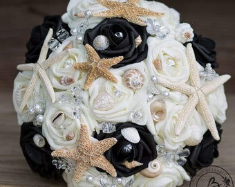 Starfish bouquet, beach wedding bouquet, jeweled beach bouquet, black seashell bouquet with shells and starfish starfish and pearls