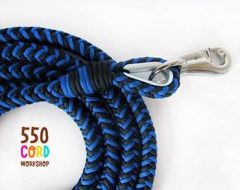 Thick Multicolored Paracord Dog Leash  Black - Blue