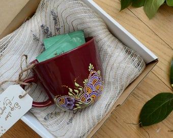 Birthday Gift. Coffee Mug. Hand-Painted Mug. Henna Design. Boho. Colorful. Pattern. Tea Cup. Floral Painting.Pattern