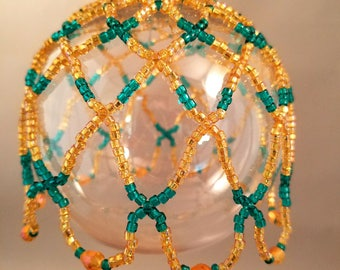 Handcrafted Japanese Glass Seed Bead and Glass Bicone Beads Ornament Cover