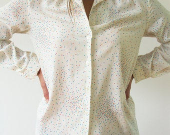 Vintage Blouse/ Collared Blouse/ Ivory Blouse/ Polka Dot Blouse/ Women's Blouse