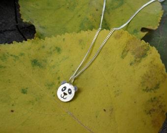 Silver panda necklace, Tiny panda necklace, Sterling silver panda necklace, Animal silver necklace, Silver bear necklace