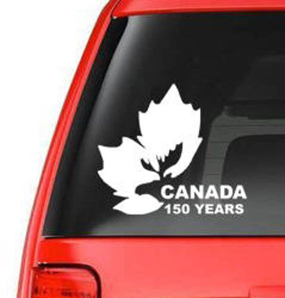 Happy Year Birthday Canada Maple Leaf With Moose Head Can - Vinyl decal stickers canada