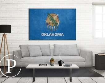Oklahoma Flag Canvas, Single Panel Large Canvas, Three Panel Large Canvas, Oklahoma Flag, Large Canvas Wall Art, Vintage Flag on Canvas