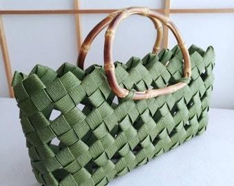 Green handbag, handbag, minimal bag, kimono bag, summer bag, Japanese, bamboo, eco friendly, gift, birthday