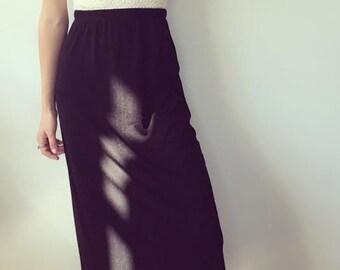 Black Stretchy Polyester Skirt