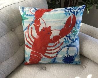"LOBSTER Decorator Accent Pillow. FREE Pillow Form/Insert.. 18""x18"". Cotton/linen.. Coastal Decor. Beach Decor. Nautical Decor"