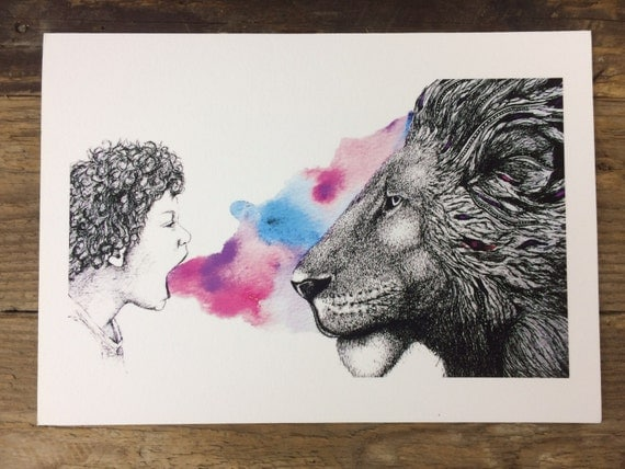Lion and boy giclee print - original watercolour pen and ink illustration - wall art - A4 or A3