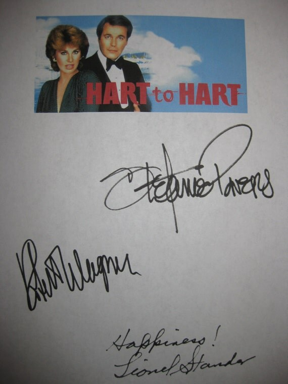 Hart to Hart signed TV Pilot Script Screenplay Autograph Robert Wagner Stefanie Powers Lionel Stander signature classic TV Show