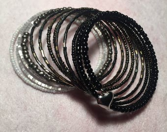 Black White and Gray Wrap Bracelet