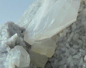 White calcite crystals on grey calcite  from France