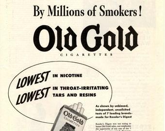 1943 Old Gold cigarettes vintage magazine ad wall decor