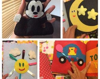 Quiet book, sensory book, Montessori inspiration, book activity, quiet book, Toy, game, book in felt, book in cloth