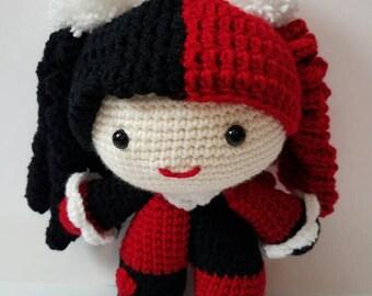 Crochet Harley Quinn Big Head Doll, crochet Harley Quinn doll, Harley Quinn doll, crochet Harley Quinn