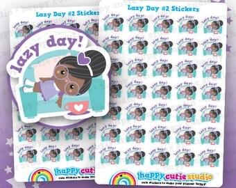 35 Cute Lazy Day Girl #2 Planner Stickers, Filofax, Erin Condren, Happy Planner, Kawaii, Cute ...
