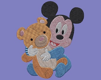 Embroidery design-Embroidery design: Mickey Mouse Baby and Teddy Bear
